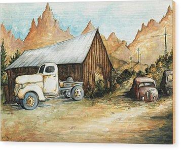 Ghost Town Nevada - Watercolor Art Wood Print