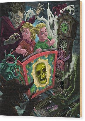 Ghost Train Fun Fair Kids Wood Print by Martin Davey
