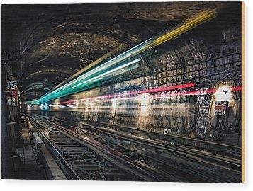 Ghost Train Wood Print by Xavier Liard