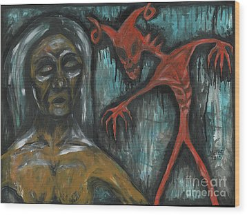 Ghouls At The Cemetery Wood Print by Marisol McKee