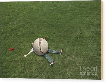 Giant Baseball Wood Print by Diane Diederich