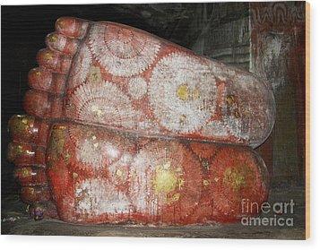 Giant Buddha Feet Wood Print by Jane Rix