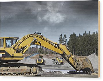 Giant Bulldozers In Action Wood Print by Christian Lagereek