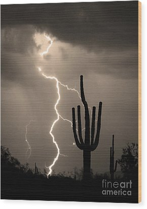 Giant Saguaro Cactus Lightning Strike Sepia  Wood Print by James BO  Insogna
