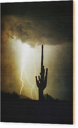 Giant Saguaro Lightning Spiral Fine Art Photography Print Wood Print by James BO  Insogna