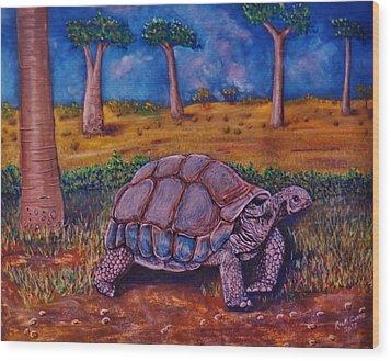 Giant Tortoise Wood Print by Richard Goohs