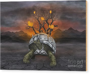 Giant Turtle Warrior In The Old Metal Armor... Wood Print