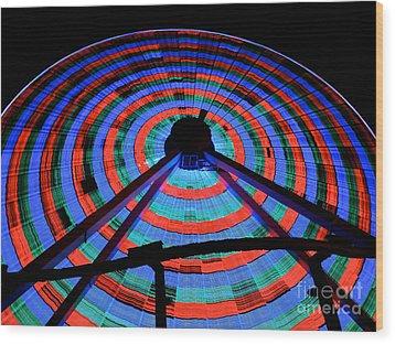 Giant Wheel Wood Print by Mark Miller