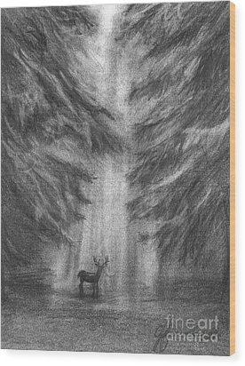 Wood Print featuring the drawing Giants Of The Woods by J Ferwerda
