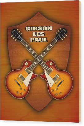 Gibson Les Paul Standart  Shield Wood Print by Doron Mafdoos