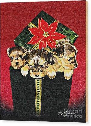 Gift Puppies Wood Print by Judy Skaltsounis