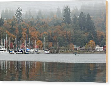 Gig Harbor In The Fog Wood Print