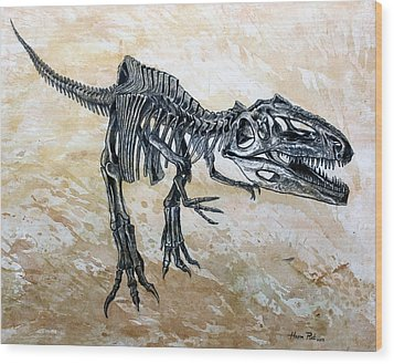 Giganotosaurus Skeleton Wood Print by Harm  Plat