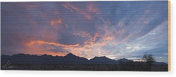 Gila River Indian Sunset Pano Wood Print by Anthony Citro