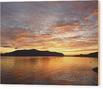 Gilded Fjord While The Sun Set Over Norwegian Mountains Wood Print by David Schoenheit