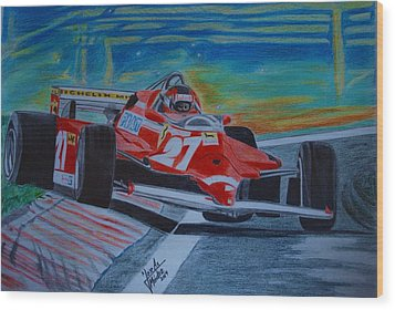 Gilles Villeneuve Wood Print by Jose Mendez