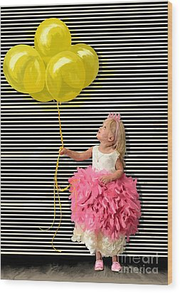 Gillian With Yellow Balloons Wood Print