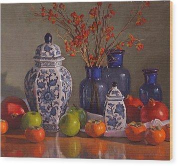 Ginger Jars Wood Print by Sarah Blumenschein