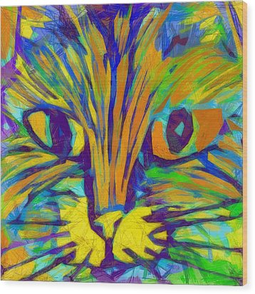 Ginger Kitty Wood Print by Michelle Calkins