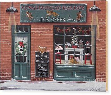 Gingerbread Bakery At Fox Creek Wood Print by Catherine Holman