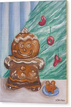 Gingerbread Cookies Wood Print by Victoria Lakes