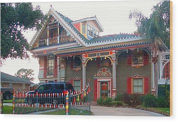Gingerbread House - Metairie La Wood Print by Deborah Lacoste