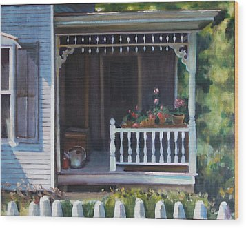 Gingerbread Porch Warren Vermont Wood Print by Pat Percy