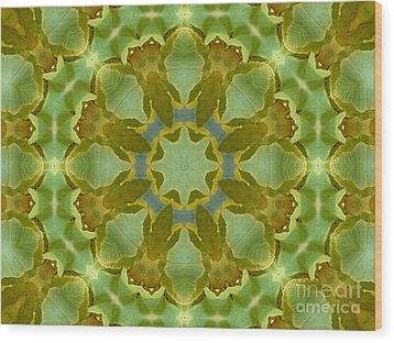 Ginkgo Leaf Kaleidoscope Mandala Wood Print by MM Anderson