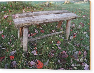 Ginny's Bench Wood Print by Kerri Mortenson