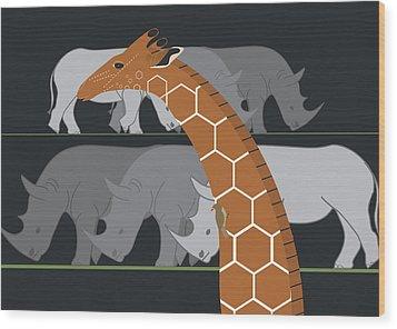 Giraffe And Rhinos Wood Print