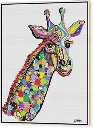 Giraffe Wood Print by Eloise Schneider
