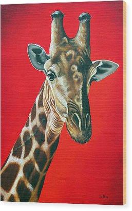 Giraffe Wood Print by Ilse Kleyn