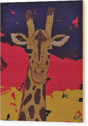 Giraffe In Prime 2 Wood Print