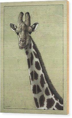 Giraffe Wood Print by James W Johnson