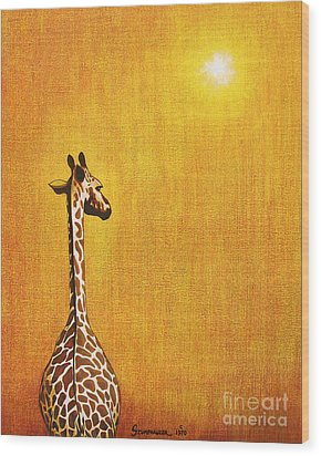 Giraffe Looking Back Wood Print by Jerome Stumphauzer