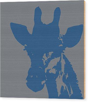 Giraffe Silhouette Grey Blue Wood Print by Ramona Johnston