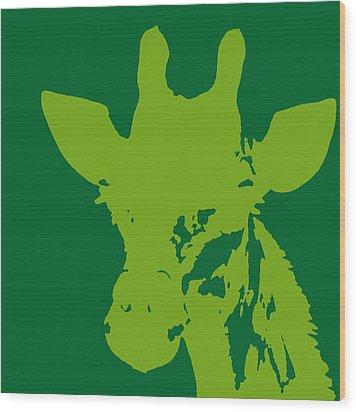 Giraffe Silhouette Lime Green Wood Print by Ramona Johnston