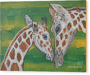 Giraffes Artwork - Learning And Loving Wood Print