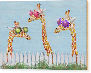 Giraffes In Sunglasses Wood Print by Jane Schnetlage