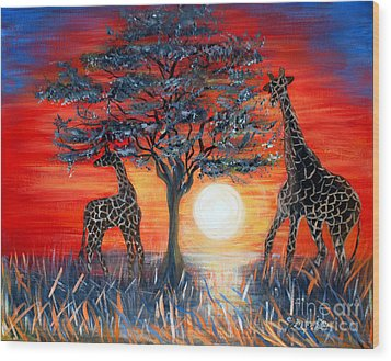Giraffes. Inspirations Collection. Wood Print