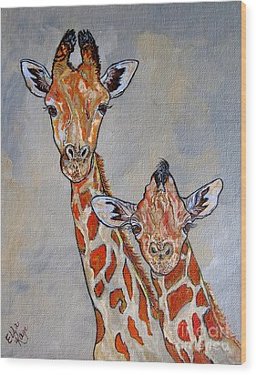 Giraffes - Standing Side By Side Wood Print