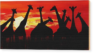 Giraffes Sunset Africa Serengeti Wood Print