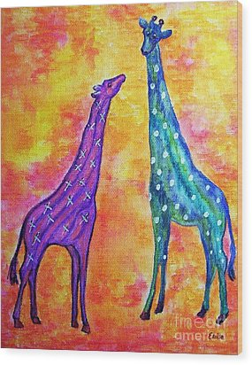 Giraffes With X's And O's Wood Print by Eloise Schneider