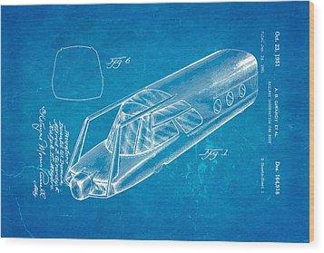 Girardy Railway Observation Car Patent Art 1951 Blueprint Wood Print by Ian Monk