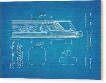 Girardy Railway Observation Car Patent Art  2 1951 Blueprint Wood Print by Ian Monk