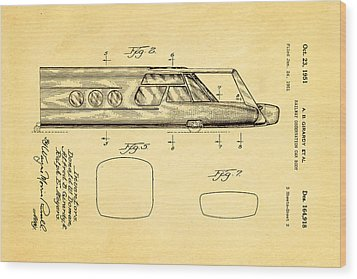 Girardy Railway Observation Car Patent Art  2 1951 Wood Print by Ian Monk