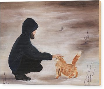 Girl And A Cat Wood Print by Anastasiya Malakhova