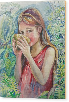 Girl And Coconut Wood Print by Svetlana Nassyrov