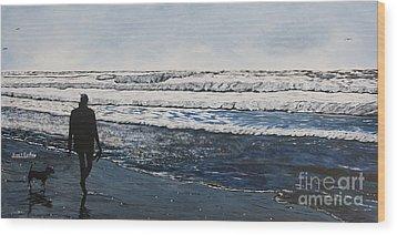 Girl And Dog Walking On The Beach Wood Print by Ian Donley