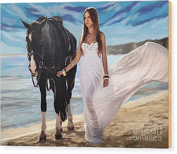 Wood Print featuring the painting Girl And Horse On Beach by Tim Gilliland